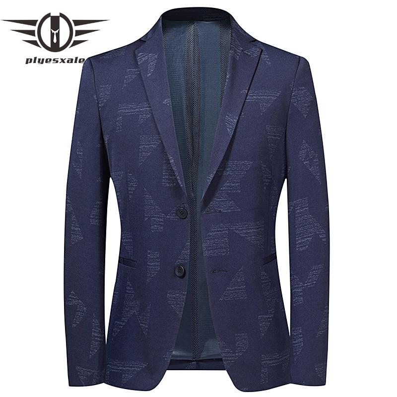 Plyesxale Autumn Navy Blue Casual Slim Fit Male Suit Jacket Stylish Homens Blazers Korean Fashion Two Buttons Men Blazer Q1188