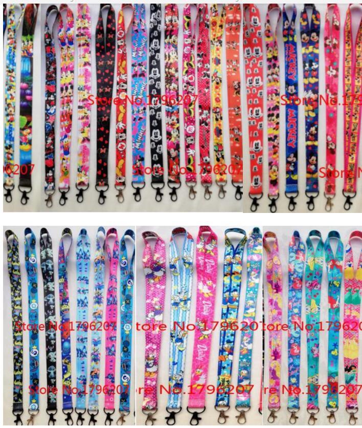 10pcs/20pcs/30pcs/50pcs mix minnie mickey princess stitch Neck Strap Lanyard Mobile Phone Key Chain ID Badge Key Chains P813