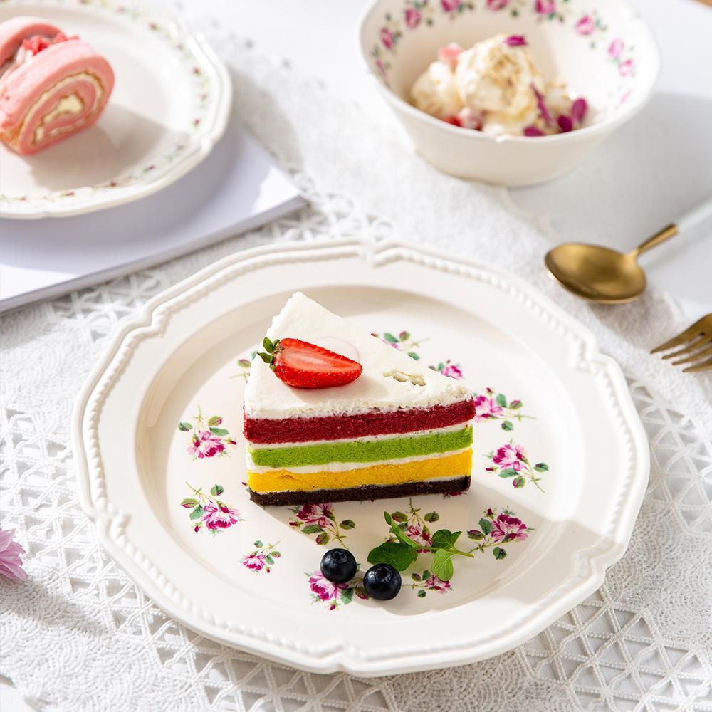 MDZF سويثوم 8/10 بوصة الفرنسية ارتفع طبق عشاء أطباق السيراميك الغربية ستيك طبق تقديم الحلوى أدوات المائدة المطبخ لوازم الحفلات