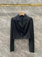 2021 new women fashion lapel solid color decoration long sleeve all match blouse short coat 907