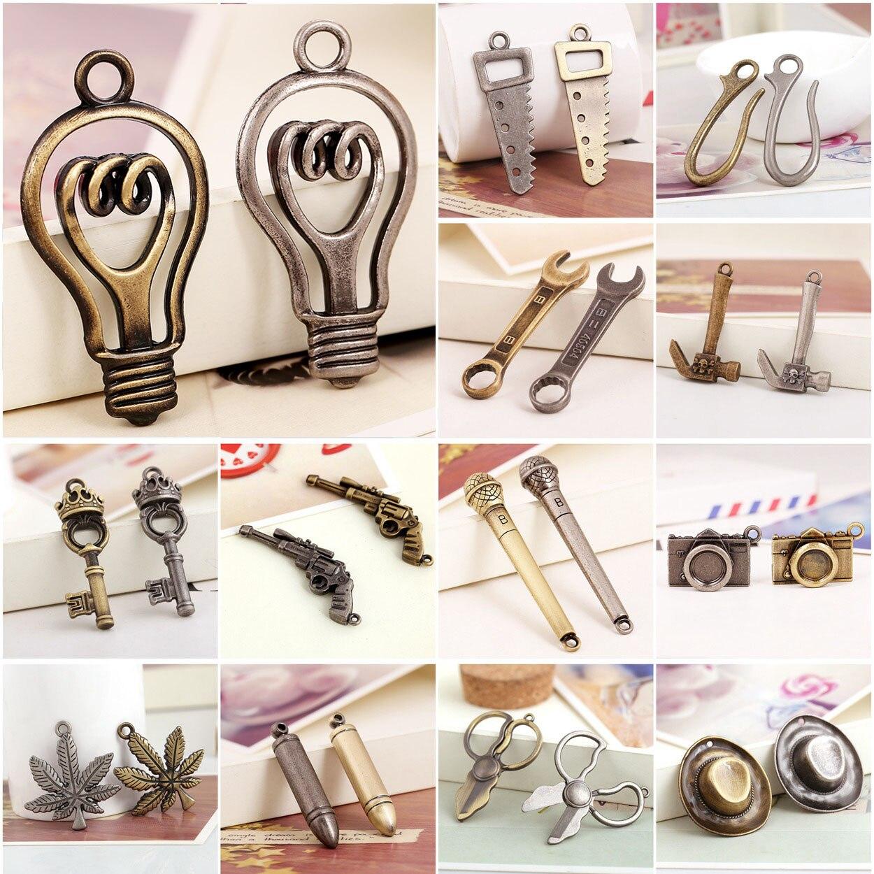 2 uds. De abalorios de aleación de Metal Retro, joyería, pulsera, fabricación...