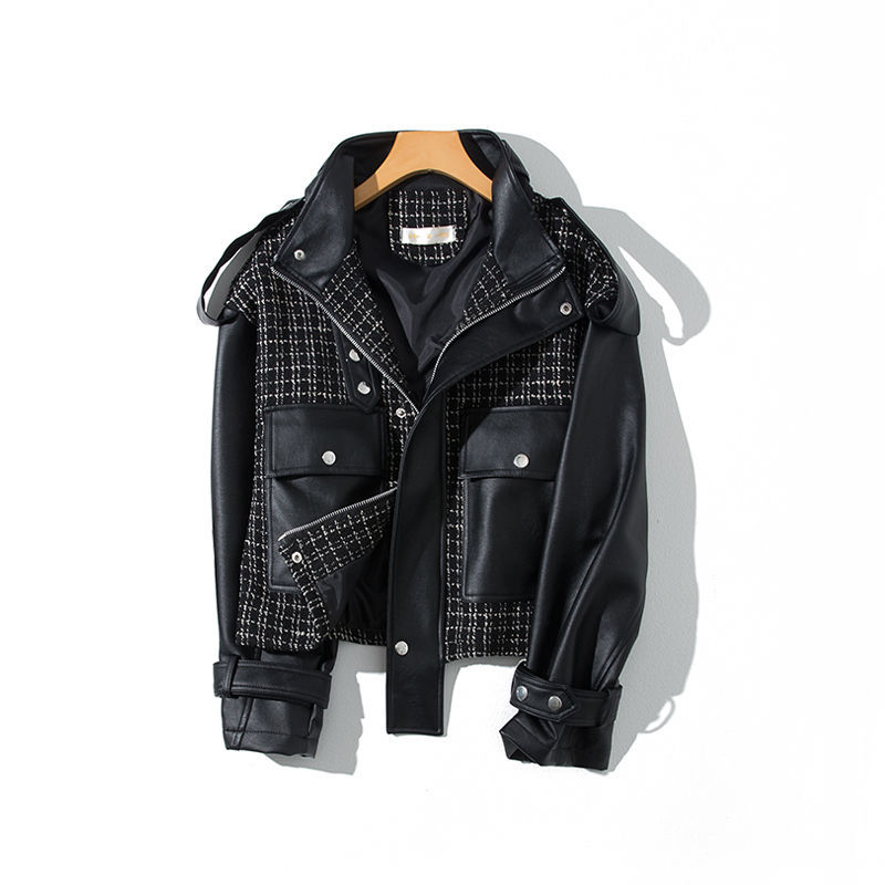 2021 new leather coat female foreign style authentic high-end small show high short student Korean loose
