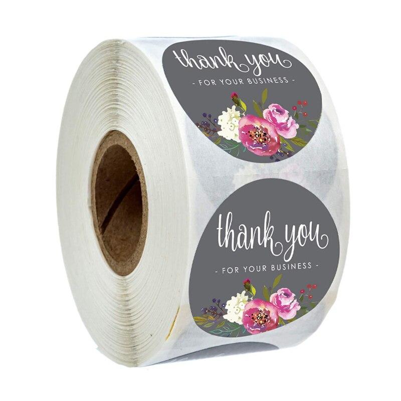 500 Uds redondo Floral gracias por sus pegatinas de negocio 1 pulgada Color flores pegatinas hechas a mano sobres sello adhesivo de papelería