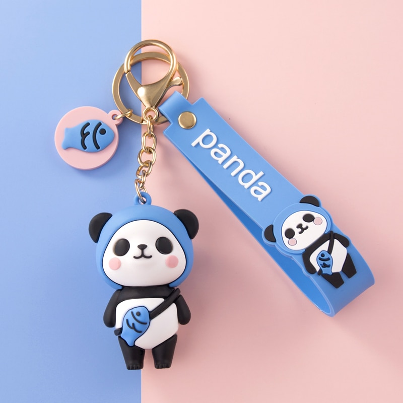 AliExpress - Cartoon Fruit Panda Keychain Blue Yellow Red Pink Soft PVC Doll Lover Car Keyring Cute Female Bag Ornaments Girl Boy Toy Lanyard