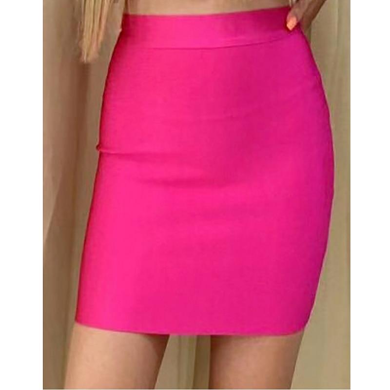 Alta calidad azul amarillo Rosa sexy figura-Abrazando rayón vendas faldas celebridad Club fiesta lápiz faldas