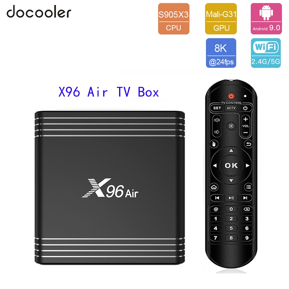 Docooler X96 aire Dispositivo de TV inteligente Android 9,0 Amlogic S905X3 8K decodificación de Video 4GB 64GB Media Player UHD 4K 2,4G/5G WiFi Set Top Box