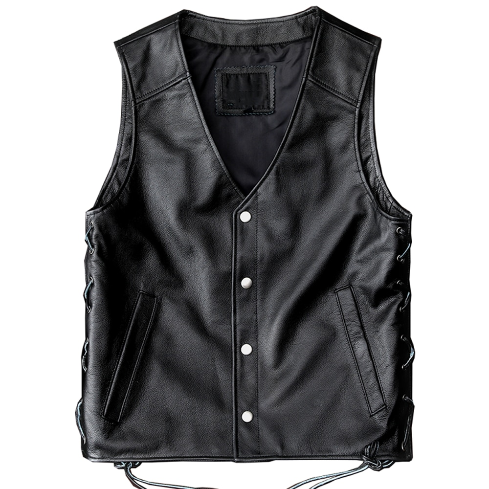 Motorcycle Mans Vest Cowhide Real Leather Riding Men's Waistcoat Vest Reflection Skull Pattern Sleeveless Coat Genuine Leather