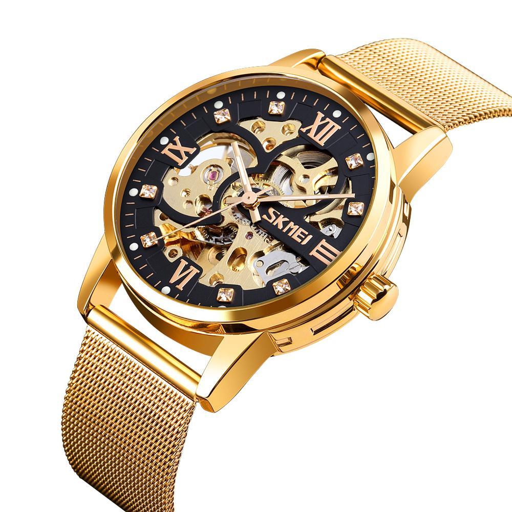 SKMEI Top Brand Mechanical Watches Fashion Men's Watch Luxury Stainless Steel Men Bracelet Wristwatches Business 30M Waterproof