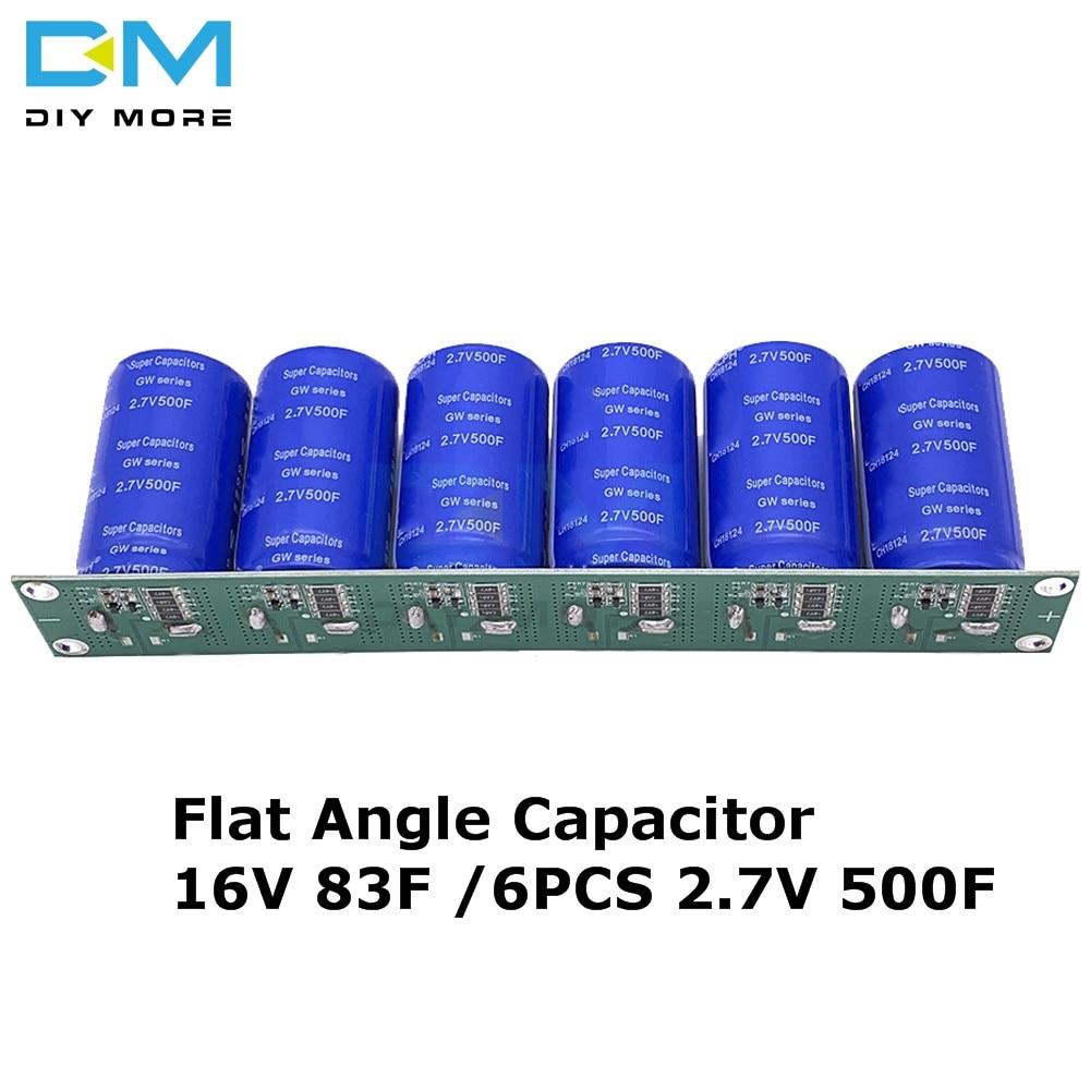 Сверх яркий конденсатор 16V 83F 6 шт. 2,7 V 500F плоский угловой электролитический конденсатор с защитной платой Однорядный ultracacitor
