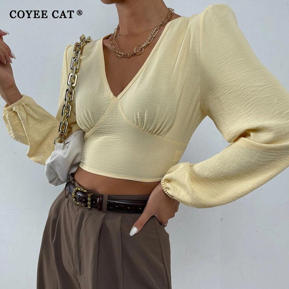 CoyeeCat Women Autumn Basic Long Sleeve Bandage Open Back T Shirt V Neck Puff Sleeve High Waist Crop Tops 2022 Spring Female Top