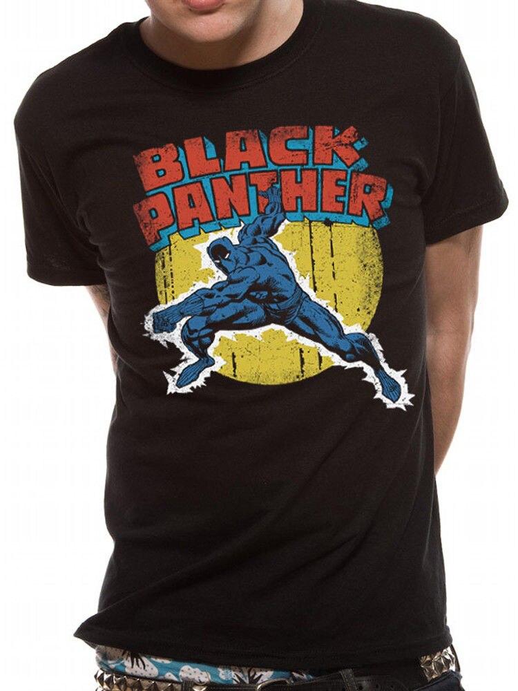 Black Panther Poster Official Marvel Comics Avengers Mens T-shirt 100% Cotton Short Sleeves Print T Shirts Men