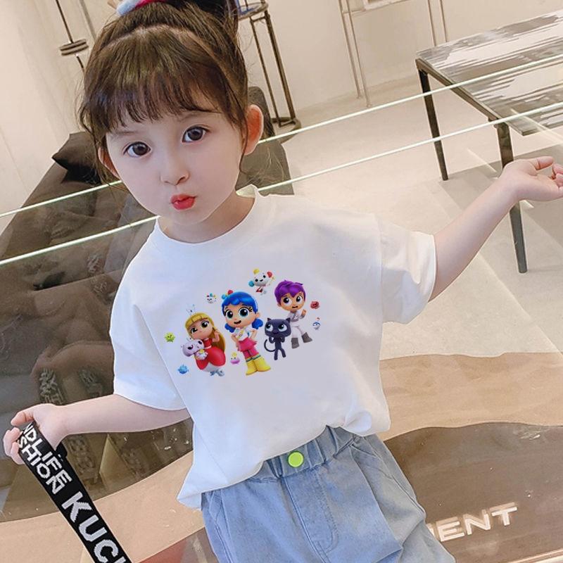Kids Girl T Shirt Pink Baby Rainbow Kingdom Tops Toddler Tees Clothes Children Clothing Cartoon T-sh