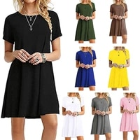 new summer sexy nightclub fashion trend solid color short sleeved ladies dress polyester casual loose plus size round neck dress