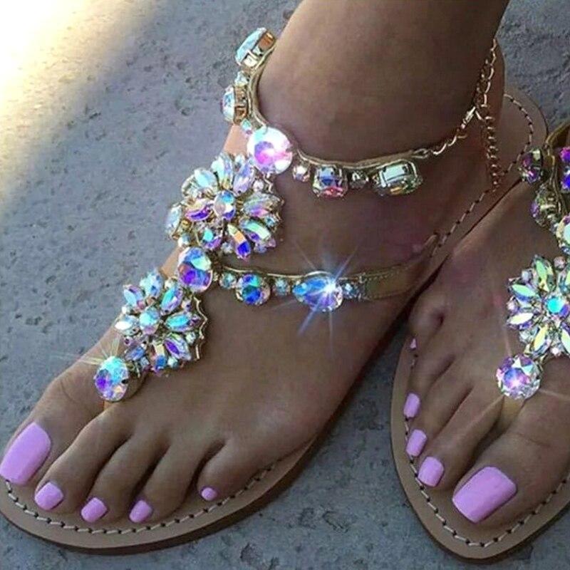 Ladies Rhinestones Sandals Summer Beach Slippers for Women Sandals Flip Flops Ladies Crystal Beach S