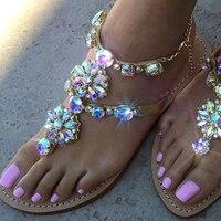 Женские сандалии-стразы, летние пляжные шлепанцы, Вьетнамки, женские пляжные шлепанцы с кристаллами, Повседневные тапочки, обувь