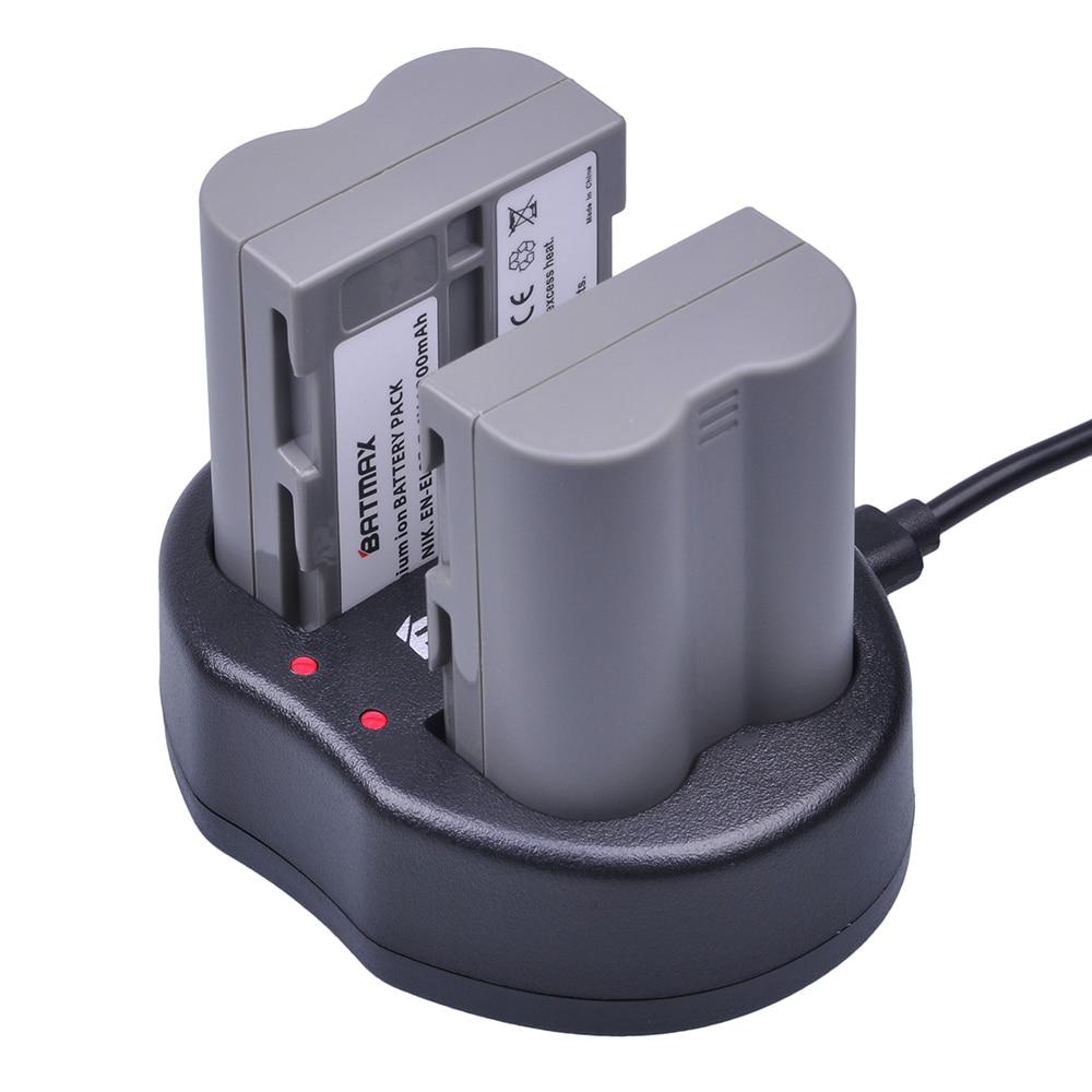 Batería Batmax EN-EL3E EN EL3E + cargador Dual USB para cámara Nikon ENEL3E EN EL3E D30 D50 D70 D90 D70S D300