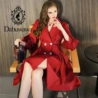 dabuwawa casual autumn women trench coat split elegant lantern sleeve coat long coat pleated windbreaker ladies do1ctc007