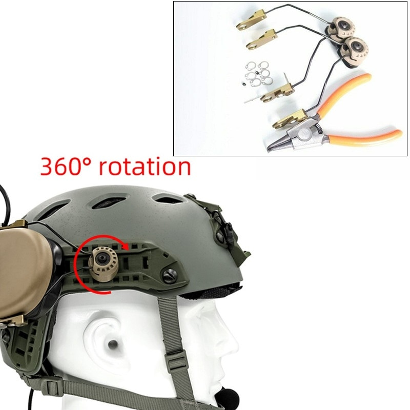 militech oliver drab od color bungee cords with hook for nvg helmet rails system devgru ops fast mich ach pasgt gentex helmets Tactical FAST, ACH, MICH helmet ARC rail military adapter sordin bracket is suitable for MSA SORDIN series tactical headset