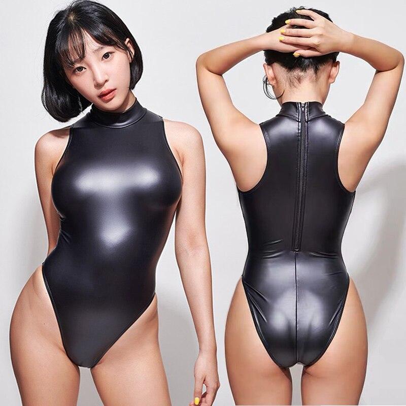 Sexy japonês água matte preto collants sem mangas bodysuit alta corte uma peça roupa de banho feminina maiôs japoneses