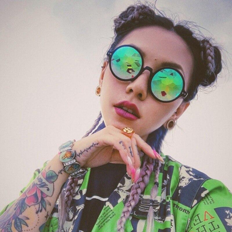 Gafas de Calidoscopio redondas Rave Festival hombres mujeres marca diseñador holográfico Ka