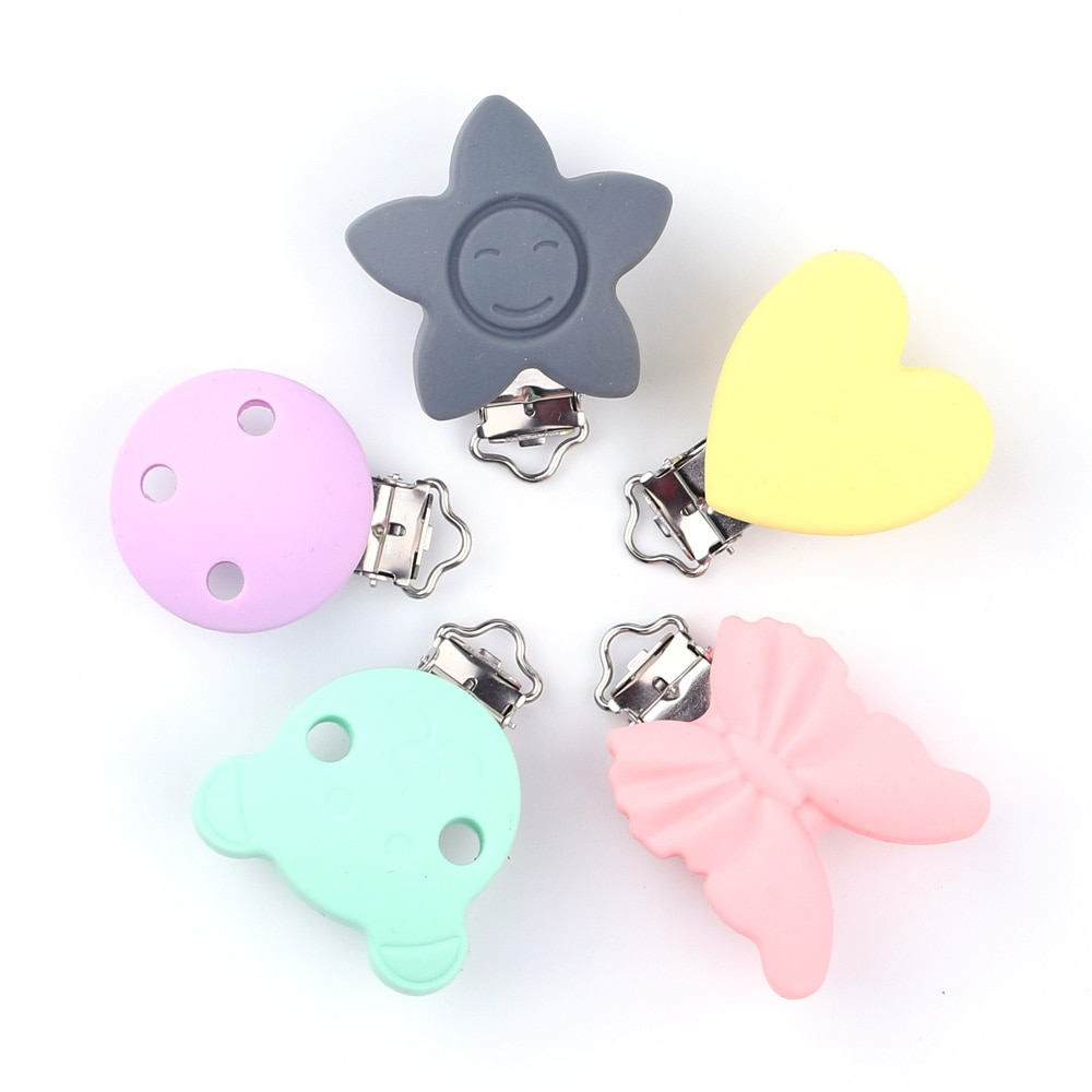 TYRY.HU  Pacifier Clips 100 PC Baby Pacifier Chain Clips Holder Cartoon Dummy Food Grade Silicone Teething Child Toy DIY enlarge