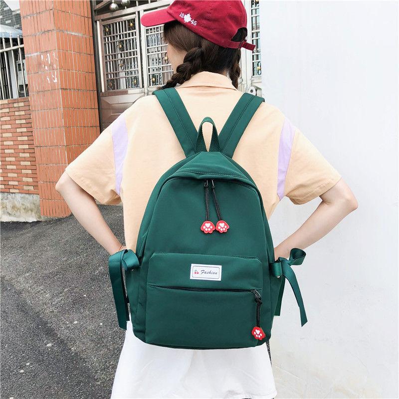 Teen High School Bags for Teenage Girls Backpack Women Bookbags Green Lightweight Nylon Student Bag School Female Schoolbag