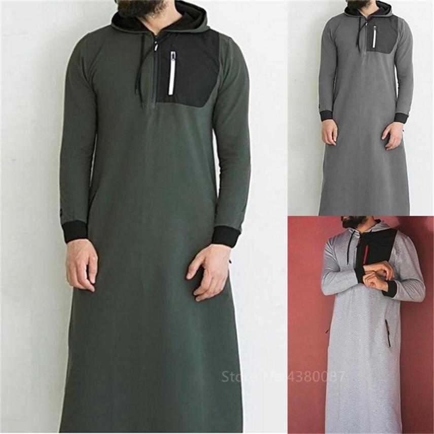 Muslim Men Clothing Robe Long Sleeve Saudi Arab Thobe Jubba Man Pakistan Kaftan Abaya Sweatshirt Islamic Hoodies Dressing S-3XL