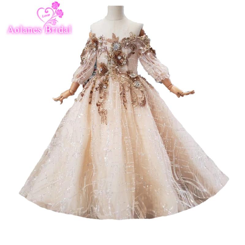 Vestidos de niña con flor de novia con tela especial de tren para desfile de niños vestidos de fiesta vestido de fiesta 7 8 9 vestido de Santa Primera Comunión