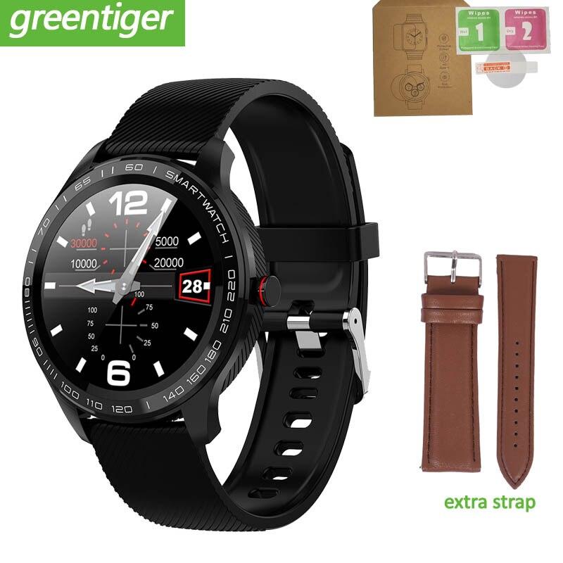 Greentiger L9 IP68 reloj inteligente impermeable para hombres ECG + PPG de frecuencia cardíaca Monitor de oxígeno y presión arterial Bluetooth VS L8 Q8 Q9
