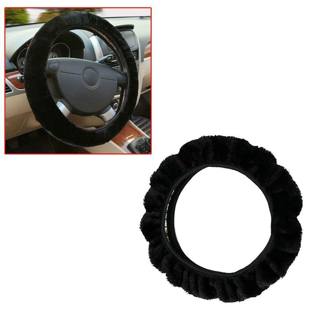Winter Thicken Short Plush Car Steering Wheel Cover Wheel Easy Fluffy Size Braid Steering to Install Universal /Warm C2Y5