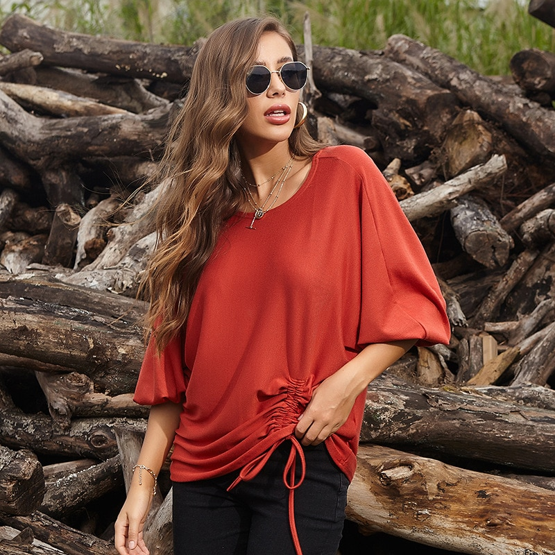 2020 Summer Lace Shirred Plus Fertilizer XL Fat MMT Pension Nv Duan Xiu Blouse Loose Solid Color New Womens Tops