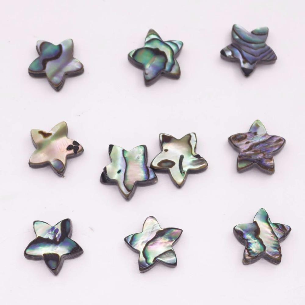 10 Uds 12mm estrella Natural Abalone shell perlas de joyería