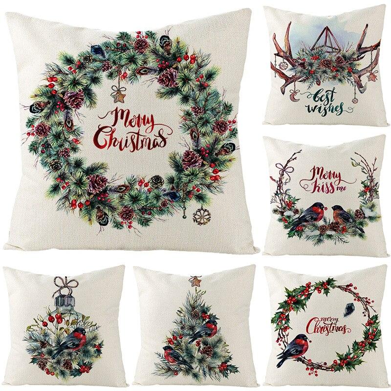 Merry Christmas cushion cover 45*45 Flower Pillowcase Cotton Linen sofa cushions Pillow cases pillow covers 0269