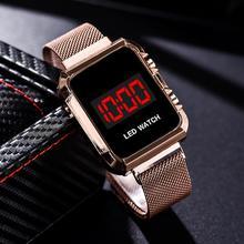 Fashion Women Electronic Sports Watch LED Watch Lady Wristwatch Alloy Mesh Watch Female Gifts Clock