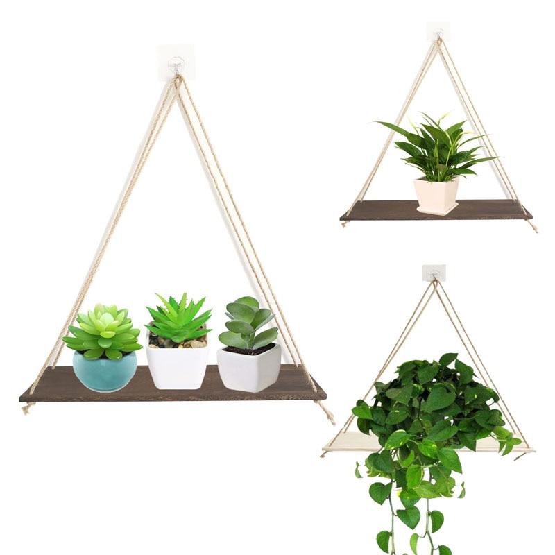 Criativo planta verde display rack balanço prateleira prateleiras de armazenamento parede fio madeira pendurado juta corda prateleira organizador rack decoração da sua casa