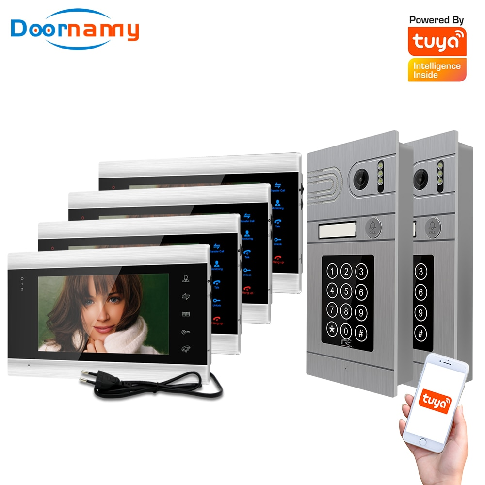 Doornanny 2 To 4 Doorbell Home Intercom Wireless WiFi Intercom Video Phone Doorman SmartLife Tuya 960P AHD Password Card Access