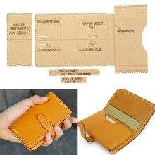 Sac à main en cuir bricolage pour femmes   Portefeuille porte-cartes rangement couture motif Kraft dur modèle de pochoir en papier Kraft 100x70mm