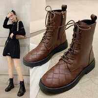 womens martin boots autumn and winter new womens boots lace up leather boots casual british lace up round toe womens shoes