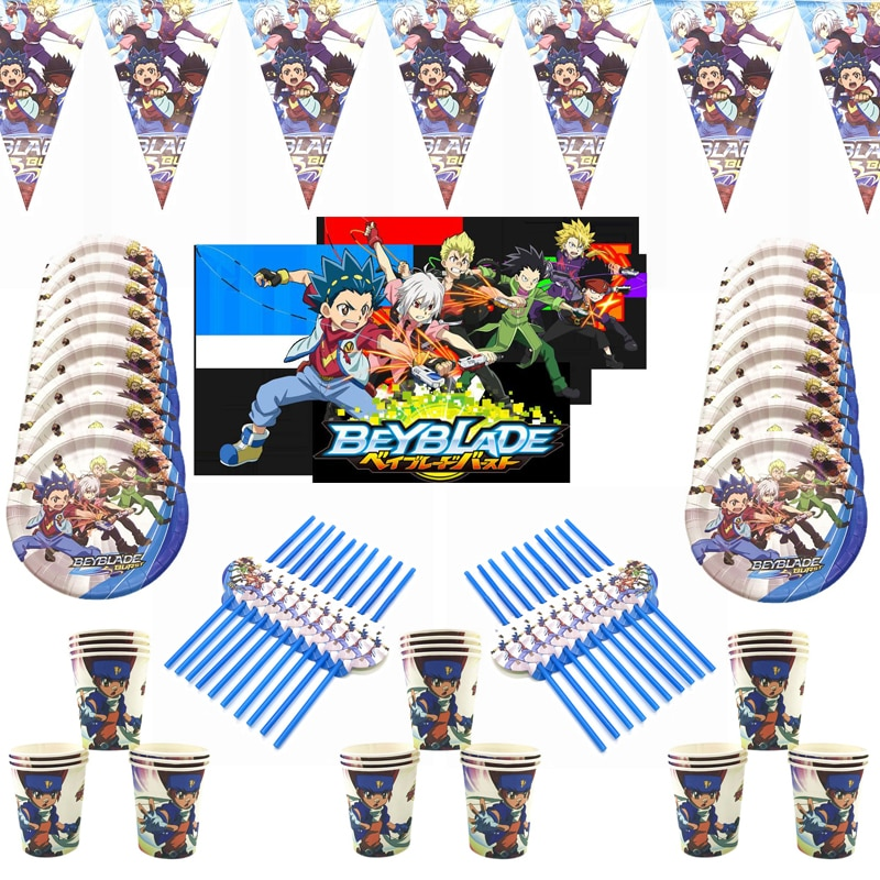 Beyblade Burst Plate Straw Baby Shower Flag Cup Happy Birthday Party Decorations Hanging Banner Kids Favors Tableware Supplies