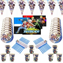 Beyblade Burst Plate Straw Baby Shower Flag Cup Happy Birthday Party Decorations Hanging Banner Kids