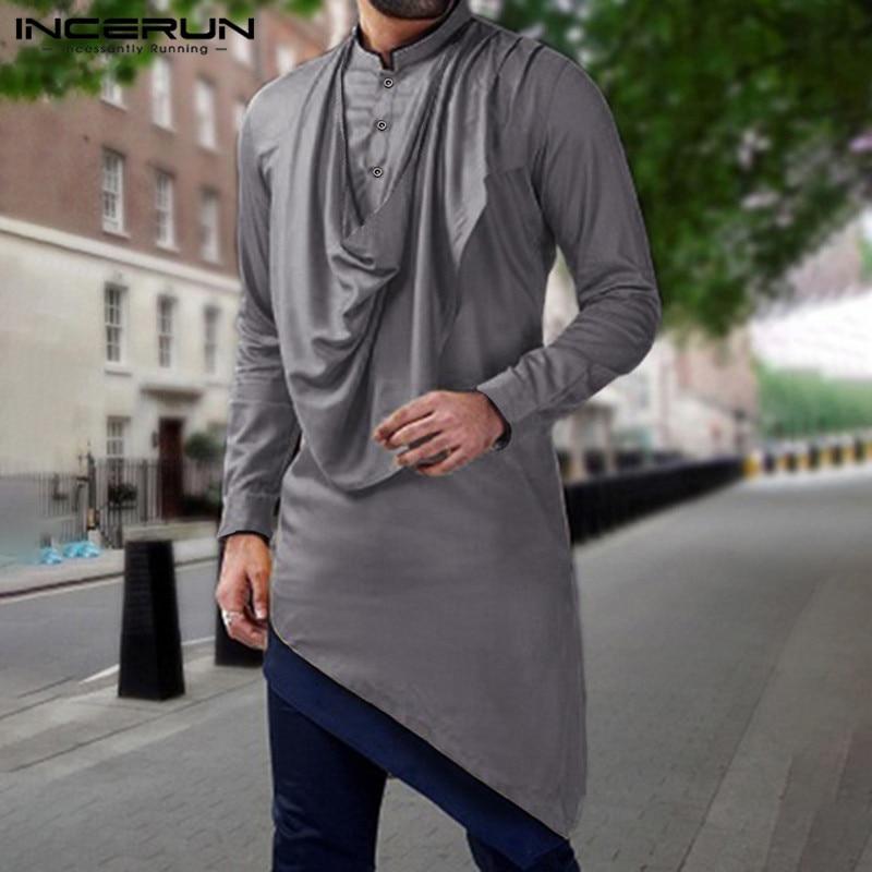 Camisa de INCERUN para hombre, ropa india, Patchwork, cuello alto, manga larga, batas, Retro, musulmán, paquistaní, camisa Irregular para hombres, ropa de calle 7