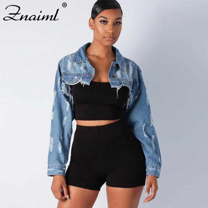 Znaiml Fashion Blue Jeans Jacket Denim Fringed Short Coats For Women Vintage Ripped Denim Jackets Ladies Jackets Streetwear Coat