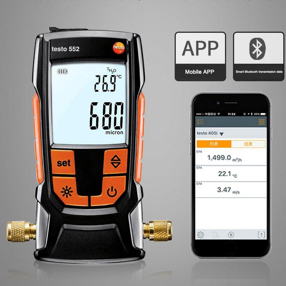 مقياس التخلخل الرقمي Testo 552 مع تطبيق Bluetooth مقياس التخلخل الإلكتروني عالي الدقة لأنظمة التبريد والمضخات الحرارية