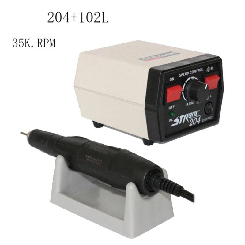 Laboratório dental micro motor saeshin strong204 e 102l handpiece polimento micromotor