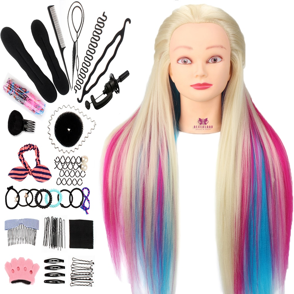 Neverland 29Inch Colorful Synthetic Hair Mannequin Head For Hairstyles Hairdressing Training Head Du