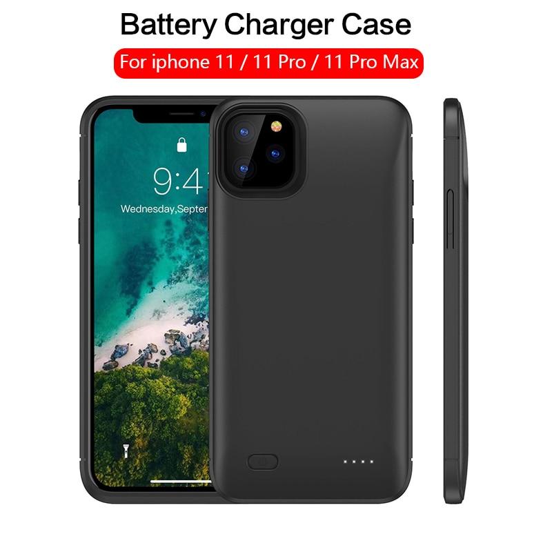 Novo carregador de bateria caso 6200 mah para iphone 11 pro max carregador externo powerbank backup bateria caso 5200mah para iphone 11 pro