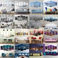 modern home decor wall artwork hd prints 5 set city view canvas painting poster modular pictures room decoration