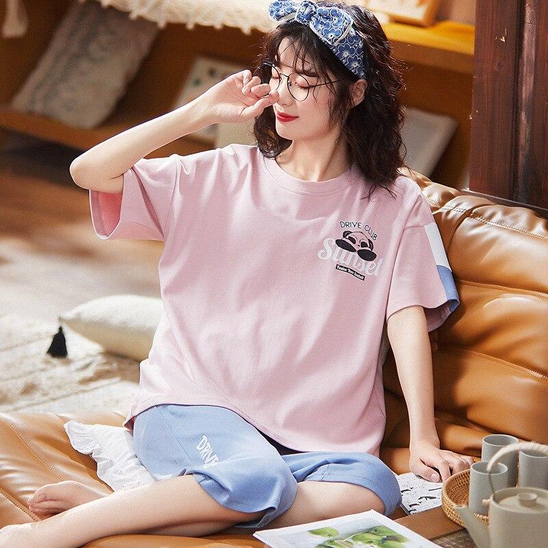 Women's pajamas pajamas for women summer ladies short-sleeved cropped pajamas pajamas set knitted co