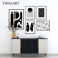 black white line drawing poster modern abstract face female canvas print painting minimalist wall art picture room home decor