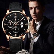 Fashion Men Watch With Multifunctional Chronograph Rattrapante Leather Mens Analog Quartz Wrist watc
